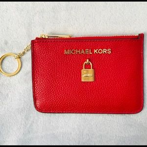 Michael Kors Scarlet Leather Red Adele Coinpouch